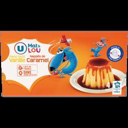 Dessert lacté flan goût vanille nappé caramel U MAT & LOU,  4x100g