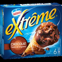 Cônes glacés chocolat EXTRÊME, x6 soit 426g