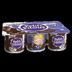 Dessert lacté goût chocolat PETITS FILOUS, 6x100g