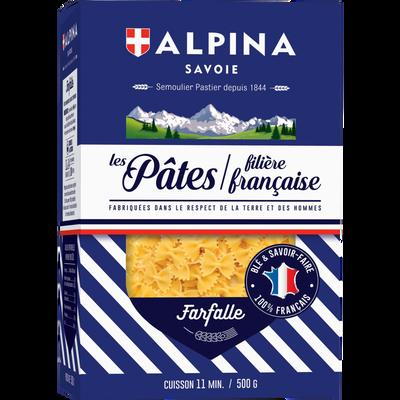 Pâtes Farfalle filière Française ALPINA Savoie, paquet de 500g