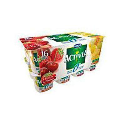 Yaourts 0% fraise, cerise, ananas et prune, ACTIVIA, 16x125g