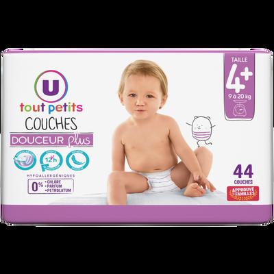 Couches douceur plus T4+ 9/20kg U TOUT PETITS paquet x44