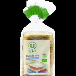 Pain de mie spécial sandwich nature grandes tranches U BIO, 500g