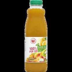 Pur jus orange et Fruits orange abricot kiwi U, bouteille de 1l