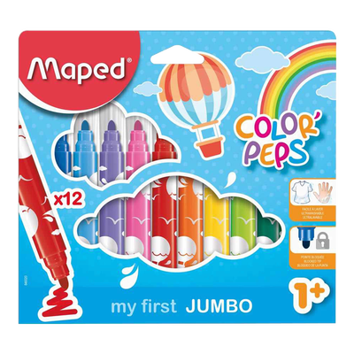 Feutre Color'Peps Jumbo MAPED, 12 unités, coloris assortis
