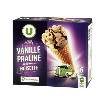 Cônes vanille praliné U, boîte de x6, 384g
