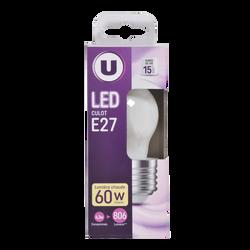 Led U, Mini, ronde, 60w, e27, opaque, lumière chaude