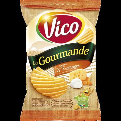 Chips la gourmande 3 fromages VICO, paquet de 120g