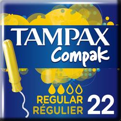 Tampon compak régulier avec applicateur protective skirt TAMPAX, x22