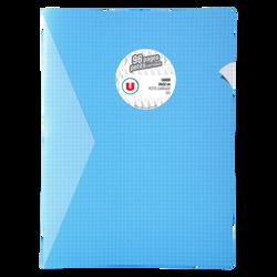 Grand cahier piqure U, petits carreaux, 24x32cm, 96 pages, bleu
