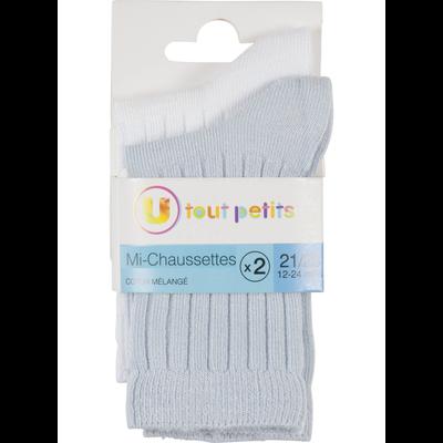 Lot de 2 paires de mi- chaussettes unies a côtes modal layette U TOUT PETITS
