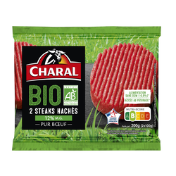 Steak haché, 12% MAT.GR., BIO, CHARAL, France, 2 pièces, 200g
