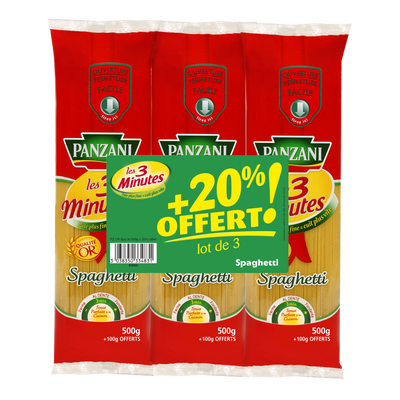 Spaghetti cuisson rapide PANZANI, 3x500g + 20% offert 1,8kg