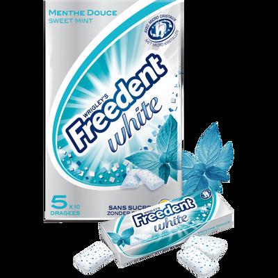 Chewing-gum sans sucre menthe douce FREEDENT White, 5x10 dragées, 70g