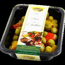 Olives vertes cassées à l'Antillaise, barquette 250g