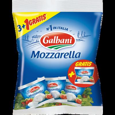 Mozzarella au lait pasteurisé GALBANI, 19% de MG, 3x125G +1 offerte soit 500g