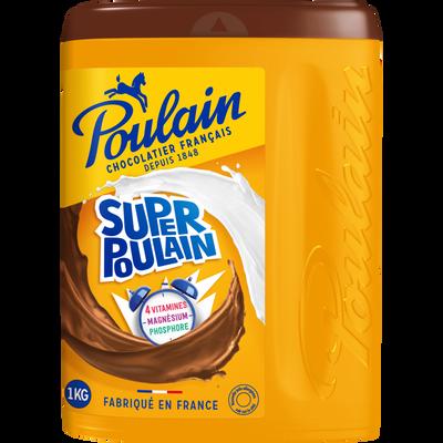 Poudre chocolatée instantanée SUPER POULAIN, boîte de 1kg