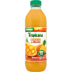 """Jus de mangue, ananas et kaki """"Cockails du Monde"""" TROPICANA, bouteillede 1l"""