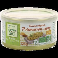 Terrine végétale potimarron curry sans gluten JARDIN BIO, boite de 125g