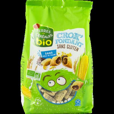 Céréales bio fourées sans gluten, Crok fondant TERRE ET CEREALES, sachet de 375g