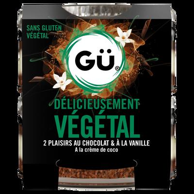 Dessert plaisir végétal chocolat vanille crème coco,GU,2x82g
