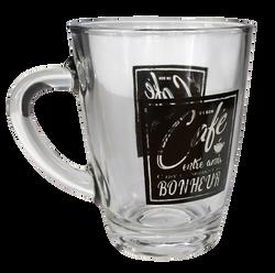 Mug coffe shop en verre 30cl noir/blanc-modèles assortis