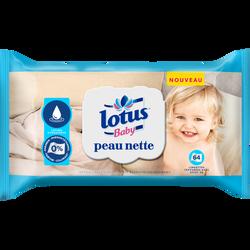 Lingettes peau nette lotion hydratante LOTUS BABY, x64