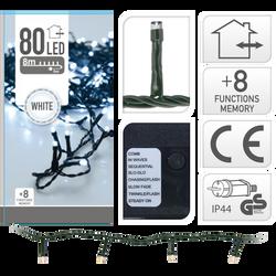 Guirlande d'extérieur 80 led blanc froid-fil vert-partie lumineuse 8 m-led 5mm-fil conducteur 5 m-distance entre led 10cm-boîtier 8 fonctions a/memoire-adaptateur IP44