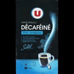 Café moulu arabica décaféiné U, paquet de 250g