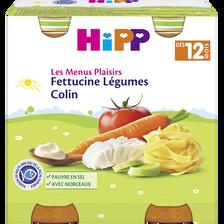 Petit pot pour bébé féttucine, légumes, colin HIPP, dès 12 mois, 2 pots, 250g