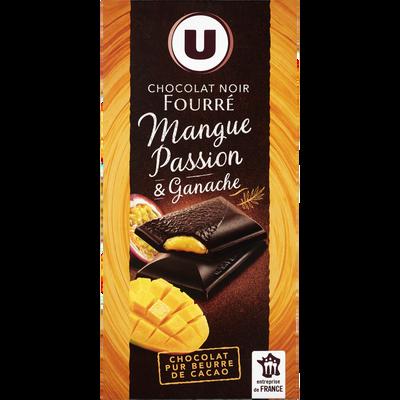Chocolat noir fourré mangue-passion & ganache, U, tablette de 130g