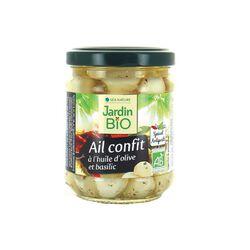 Ail confit à l'huile d'olive et basilic BIO Jardin Bio 190g