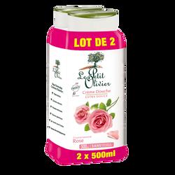 Crème de douche à la rose LE PETIT OLIVIER, 2 flacons de 500ml