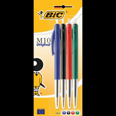 Stylos bille rétractable M10 BIC, 4 unités, coloris assortis