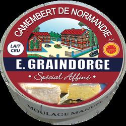 Camembert AOP au lait cru spécial affiné GRAINDORGE, 20% de MG, 250g