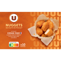 Nuggets de filet de poulet, U, France, 10 pièces, barquette, 200g