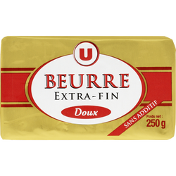 Beurre doux extra fin U, 82%MG, 250g