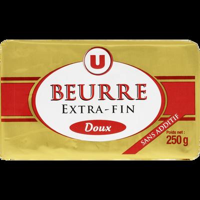 Beurre doux extra fin U, 82%MG, 250g