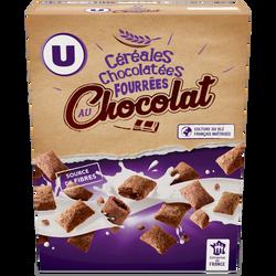 Céréales chocolatées fourrées chocolat U, paquet de 375g