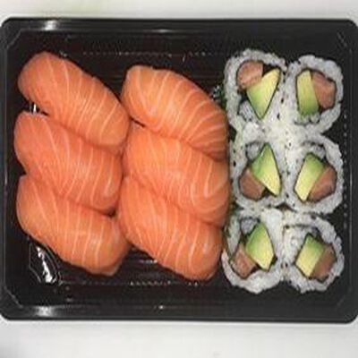 6 sushi saumon, 6 california saumon avocat