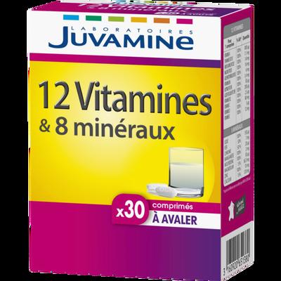 12 vitamines + 8 minéraux comprimés à avaler JUVAMINE, x30