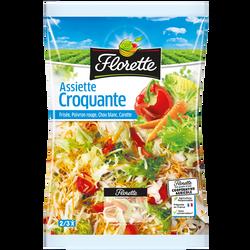 """salade (chou blanc,frisée,carotte râpée,poivron rouge et vert) """"L'assiette Croquante"""", FLORETTE, sachet 250g"""