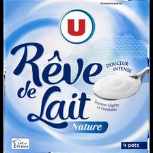 Spécialité laitière fermentée nature rêve de lait U, 4 pots x125g