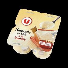 Semoule au lait à la vanille U, 4 pots x115g