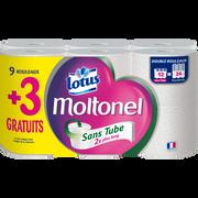 Lotus Papier Toilette Uni Sans Tube Lotus Moltonel, 9 Rouleaux + 3 Gratuits