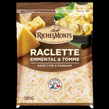 Riches Monts Mélange De 3 Fromages Râpés Au Lait De Vache Pasteurisé : Raclette 70%/emmental 20%/tomme 27%mg Riches Monts 150g