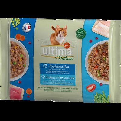 Bouchées pour chat au thon et poisson ULTIMA NATURE, 4 étuis de 85g