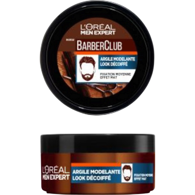 Coiffant barber club argile modelante MEN EXPERT, pot de 75ml