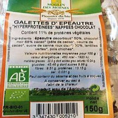 """GALETTES ÉPEAUTRE """"HYPERPROTEINEES"""" NAPPÉES DE CHOCOLAT, 150G"""