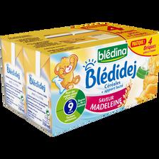 BLEDIDEJ lait et céréales saveur madeleine, dès 9 mois, 4x250ml